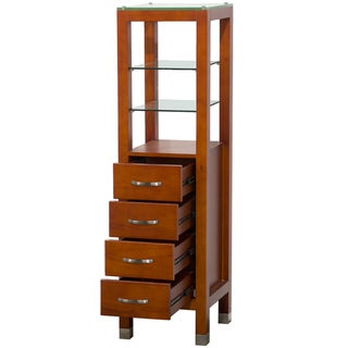 Wyndham Collection Cherry Solid Oak Tavello Linen Tower - Green