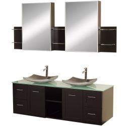 Wyndham Collection Avara 60-inch Espresso Double Bathroom Vanity Set