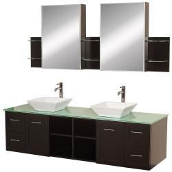 Wyndham Collection Avara Espresso 72-inch Double Bathroom Vanity Set - Green/White