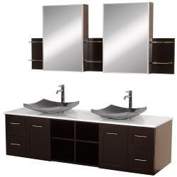 Wyndham Collection Avara Espresso 72- inch Double Bathroom Vanity Set