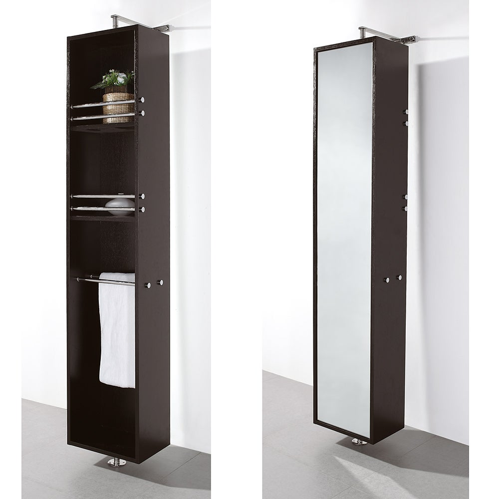 Wyndham Collection Claire Espresso Bathroom Linen Tower - Thumbnail 0