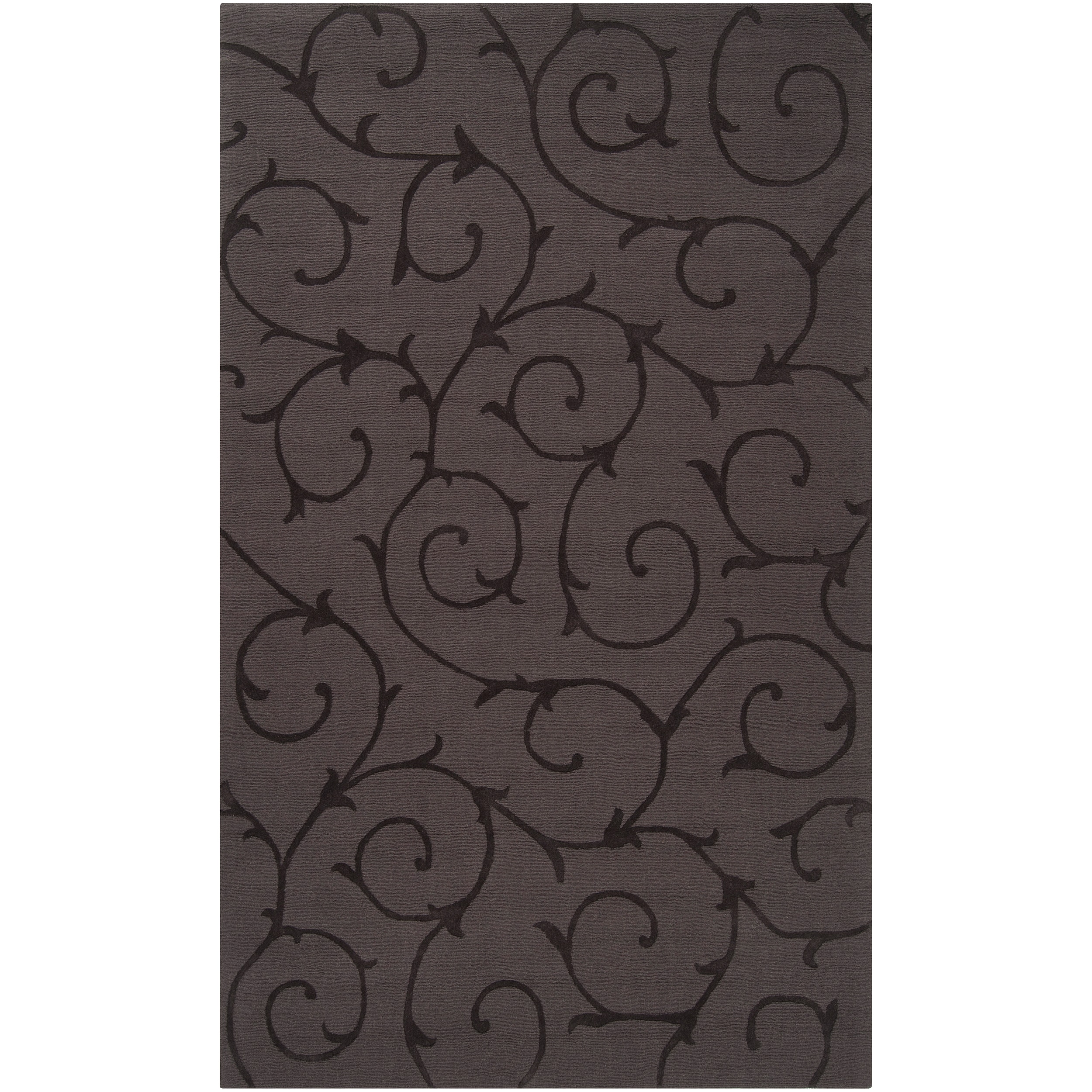 Hand-crafted Grey Solid Swirl Bristol Wool Rug (9' x 12') - Thumbnail 0