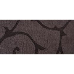 Hand-crafted Grey Solid Swirl Bristol Wool Rug (9' x 12') - Thumbnail 2