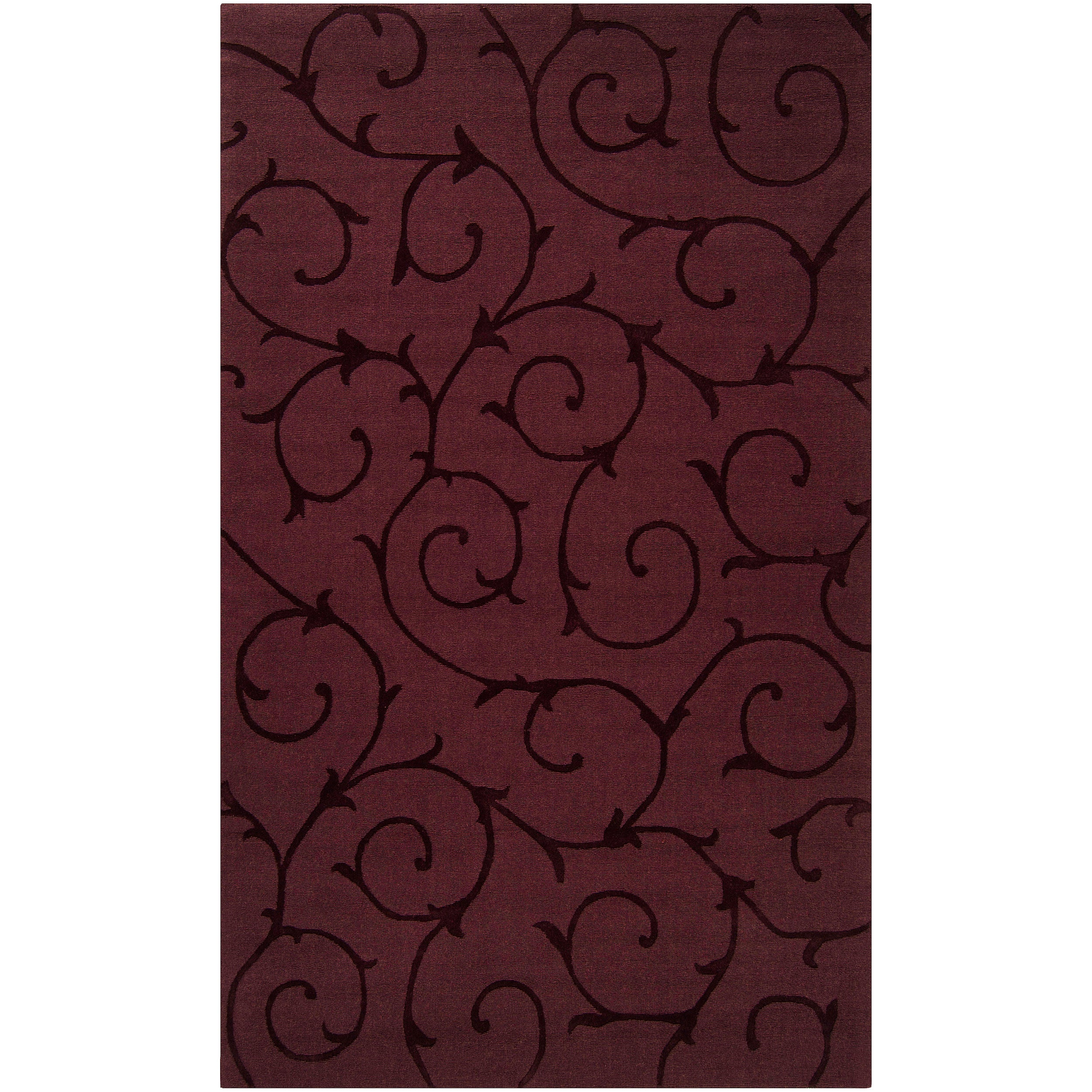Hand-crafted Burgundy Solid Swirl Bristol Wool Rug (9' x 12')