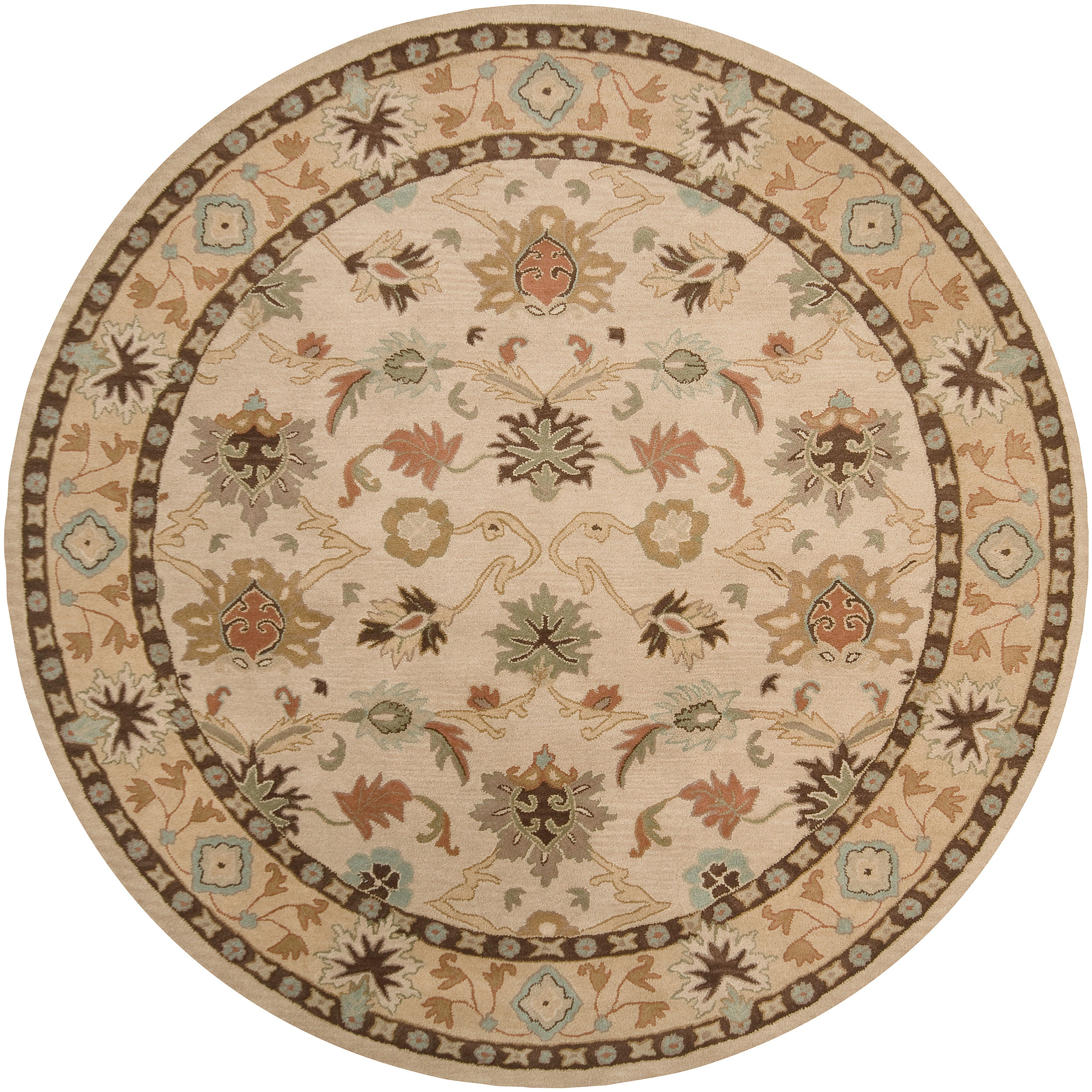 Hand tufted Traditional Camden Vanilla Floral Border Wool Rug 9 9 Round Free Shipping Today