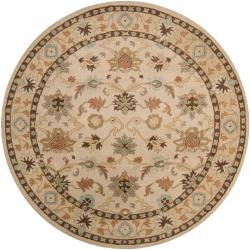 Hand-tufted Traditional Camden Vanilla Floral Border Wool Rug (9'9 Round)