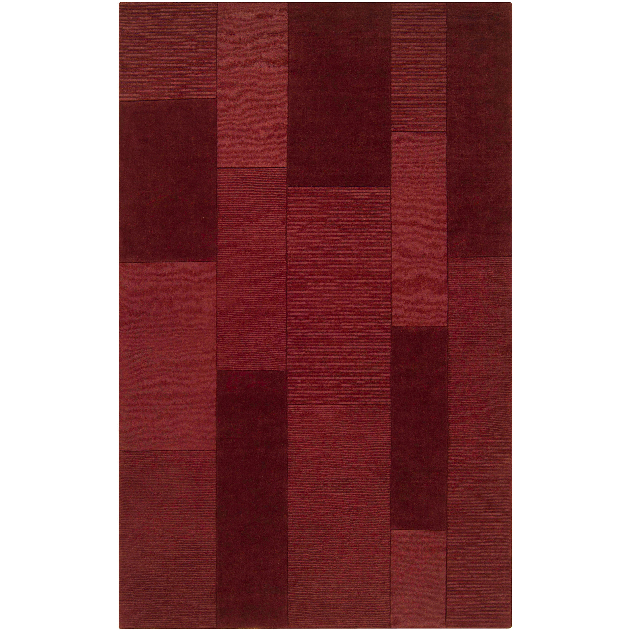 Hand-crafted Solid Casual Red Brunson Wool Rug (9' x 12')