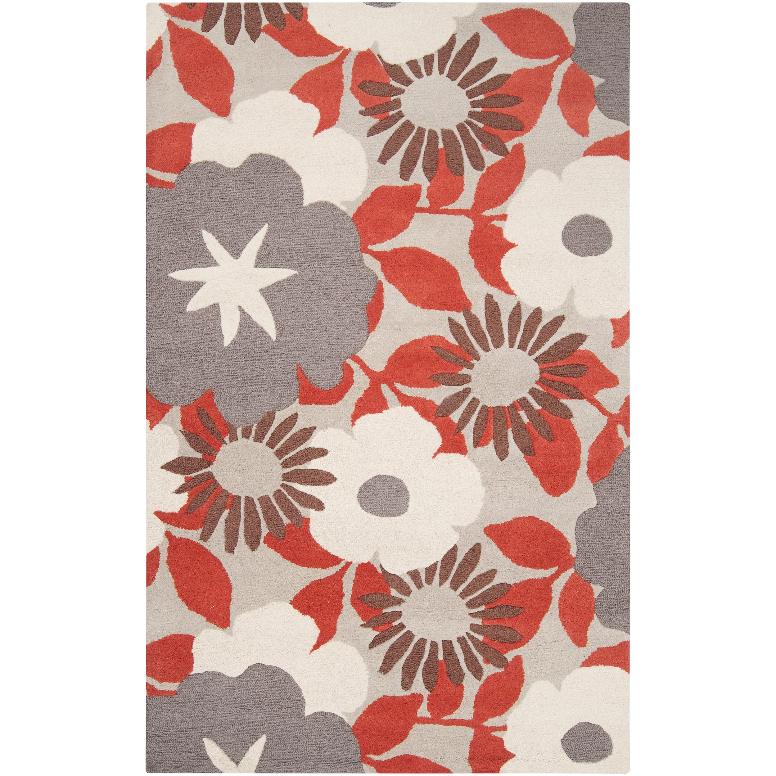tepper jackson hand tufted contemporary red grey floral dreamscape wool rug 5 39 x 8 39 free. Black Bedroom Furniture Sets. Home Design Ideas