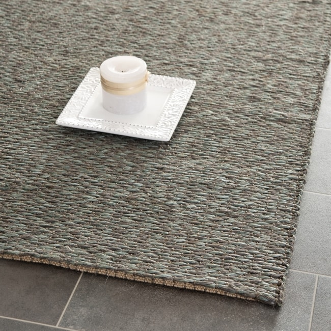 Safavieh Casual Natural Fiber Hand-Woven Doubleweave Sea Grass Teal Rug (8' x 10')