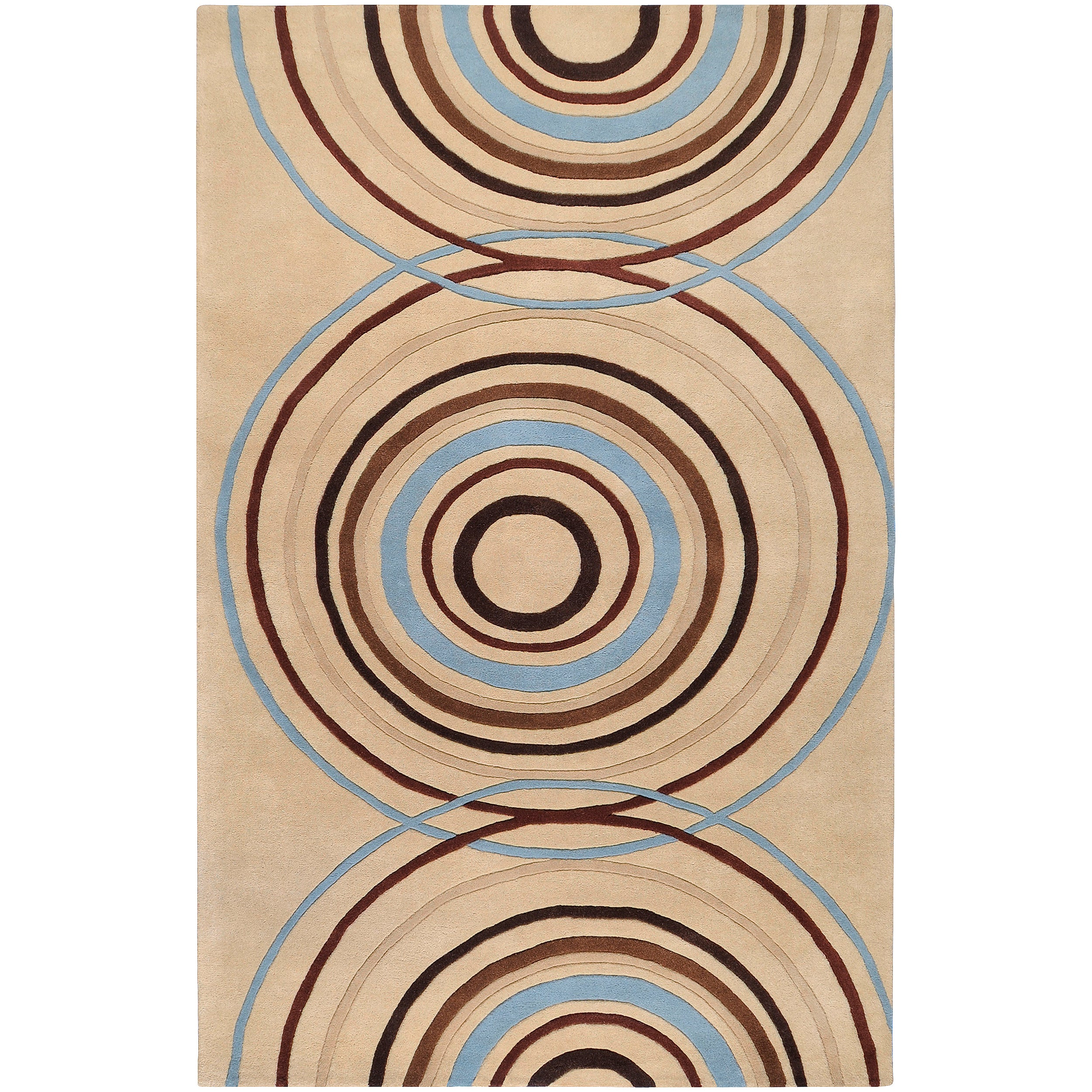 Hand-tufted Beige Contemporary Circles Easley Wool Geometric Rug (4' x 6')