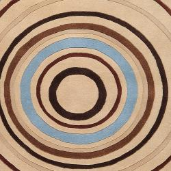 Hand-tufted Beige Contemporary Circles Easley Wool Geometric Rug (4' x 6') - Thumbnail 2