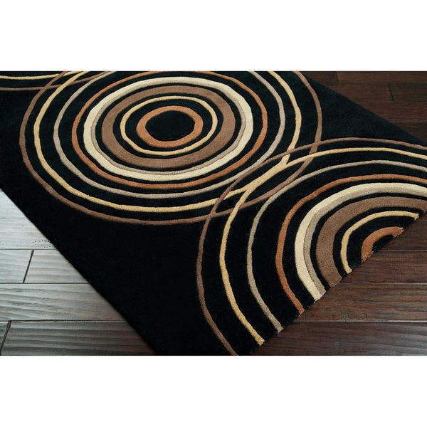 Hand-tufted Black Contemporary Circles Eastover Wool Geometric Rug (7'6 x 9'6)