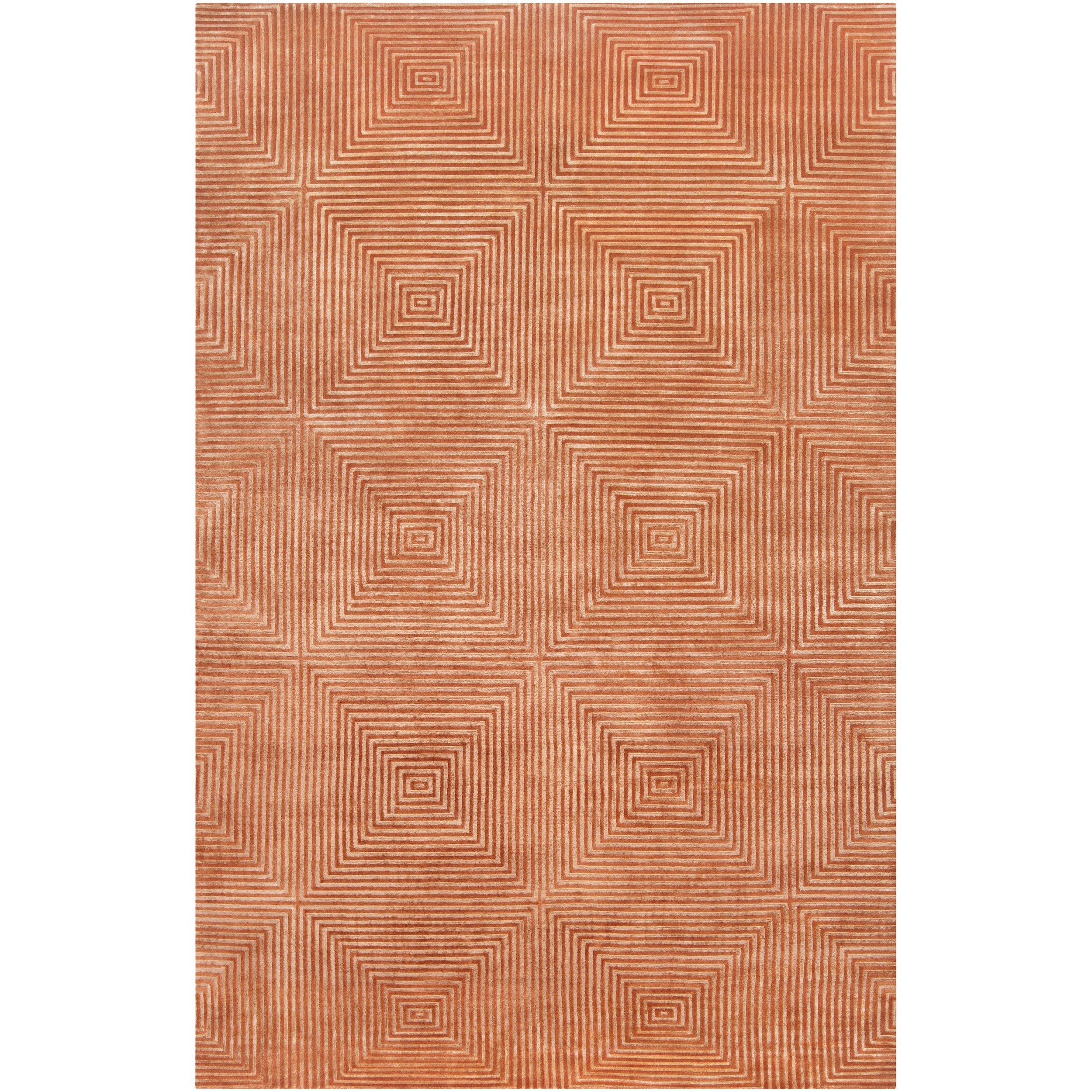 Hand-knotted Elko Geometric Wool Rug (5' x 8') - Thumbnail 0