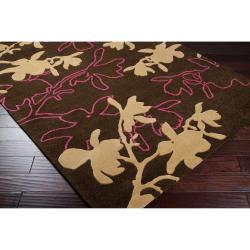 Jef Designs Hand-tufted Dark Brown/Pink Contemporary Gaffney Wool Floral Rug (5' x 8')