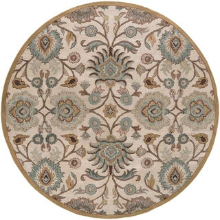Hand-tufted Amanda Ivory Floral Wool Area Rug (8' Round)