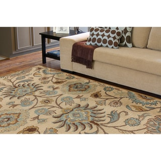 Hand-tufted Amanda Ivory Floral Wool Area Rug (9' x 12')