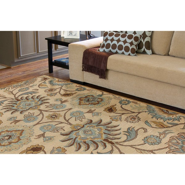 Hand-tufted Amanda Ivory Floral Wool Rug (9' x 12')