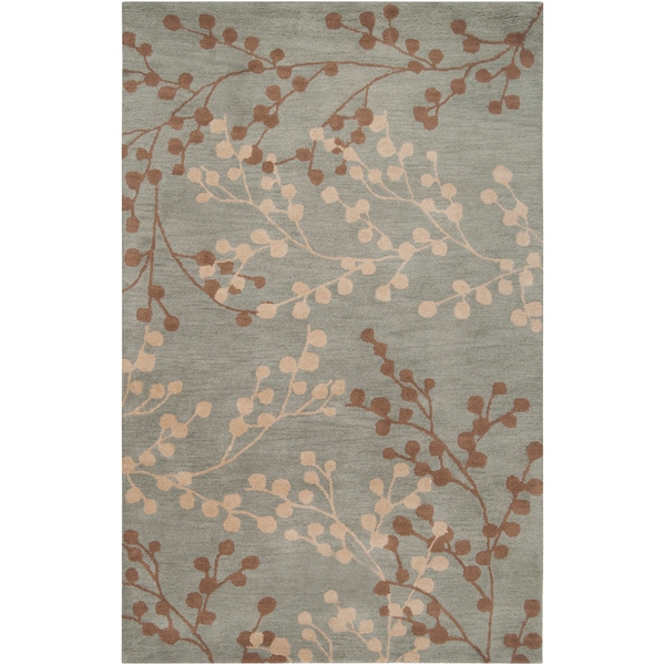 Hand-tufted Blossom Blue Floral Wool Area Rug - 5' x 7'9
