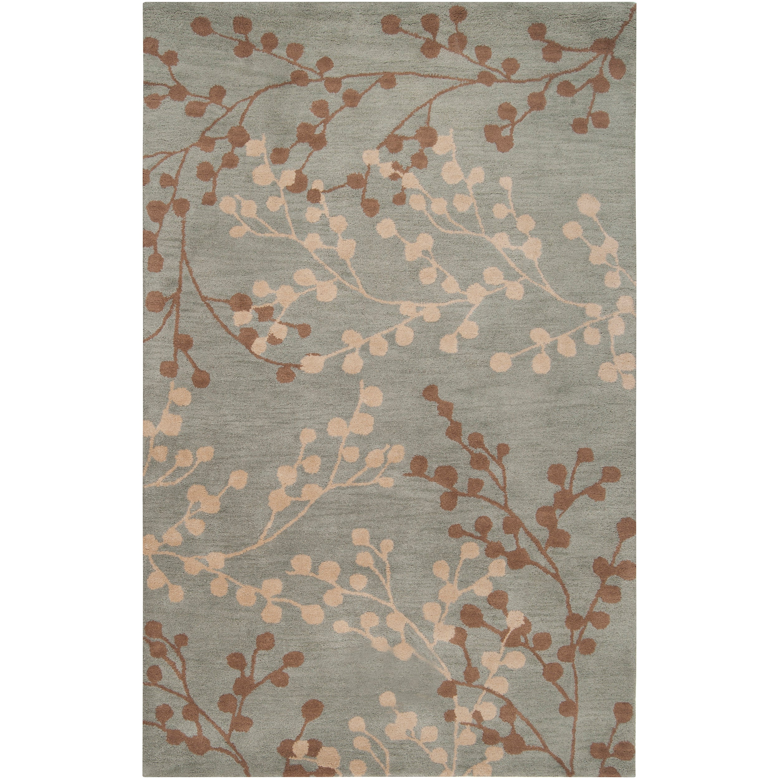 Shop Hand Tufted Blossom Blue Floral Wool Area Rug 8 X