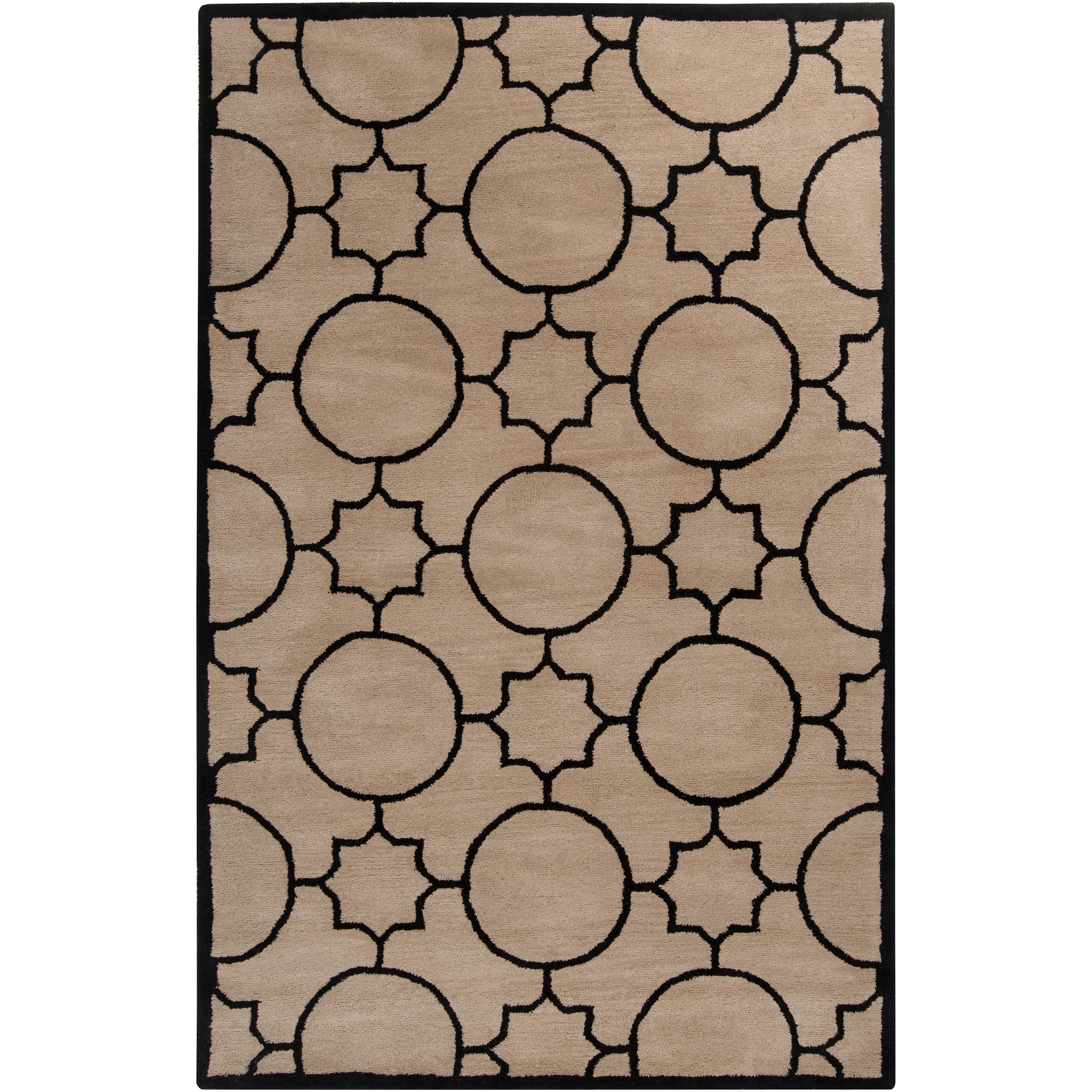 Hand-tufted Oscar Black Wool Area Rug - 8' x 10'