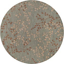 Hand-tufted Blossom Blue Floral Wool Area Rug (8' x 8')