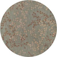 Hand-tufted Blossom Blue Floral Wool Area Rug - 8' Round