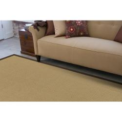 Woven Town Chocolate Sisal with Cotton Border Rug (8'x10') - Thumbnail 1
