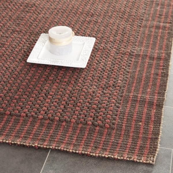 Safavieh Casual Natural Fiber Hand-Woven Loop Brown/ Rust Jute Rug - 3' x 5'