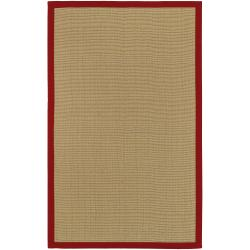 Woven Town Sisal with Red Cotton Border Area Rug (4' x 6')
