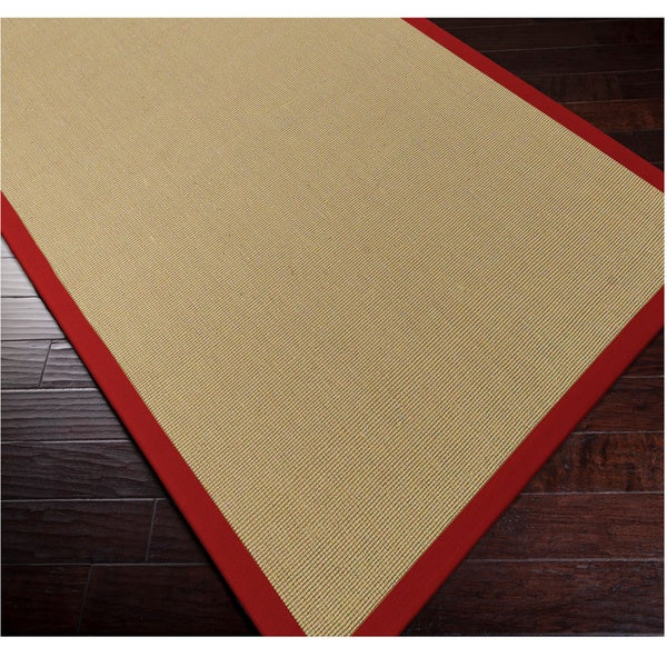 Shop Woven Town Sisal With Cotton Red Border Area Rug 6