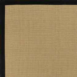 Woven Town Sisal and Black Cotton Border Rug (4' x 6') - Thumbnail 1