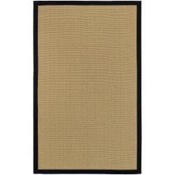 Woven Town Sisal and Black Cotton Border Rug (4' x 6')