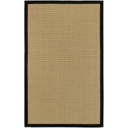 Woven Town Sisal and Black Cotton Border Area Rug (4' x 6')