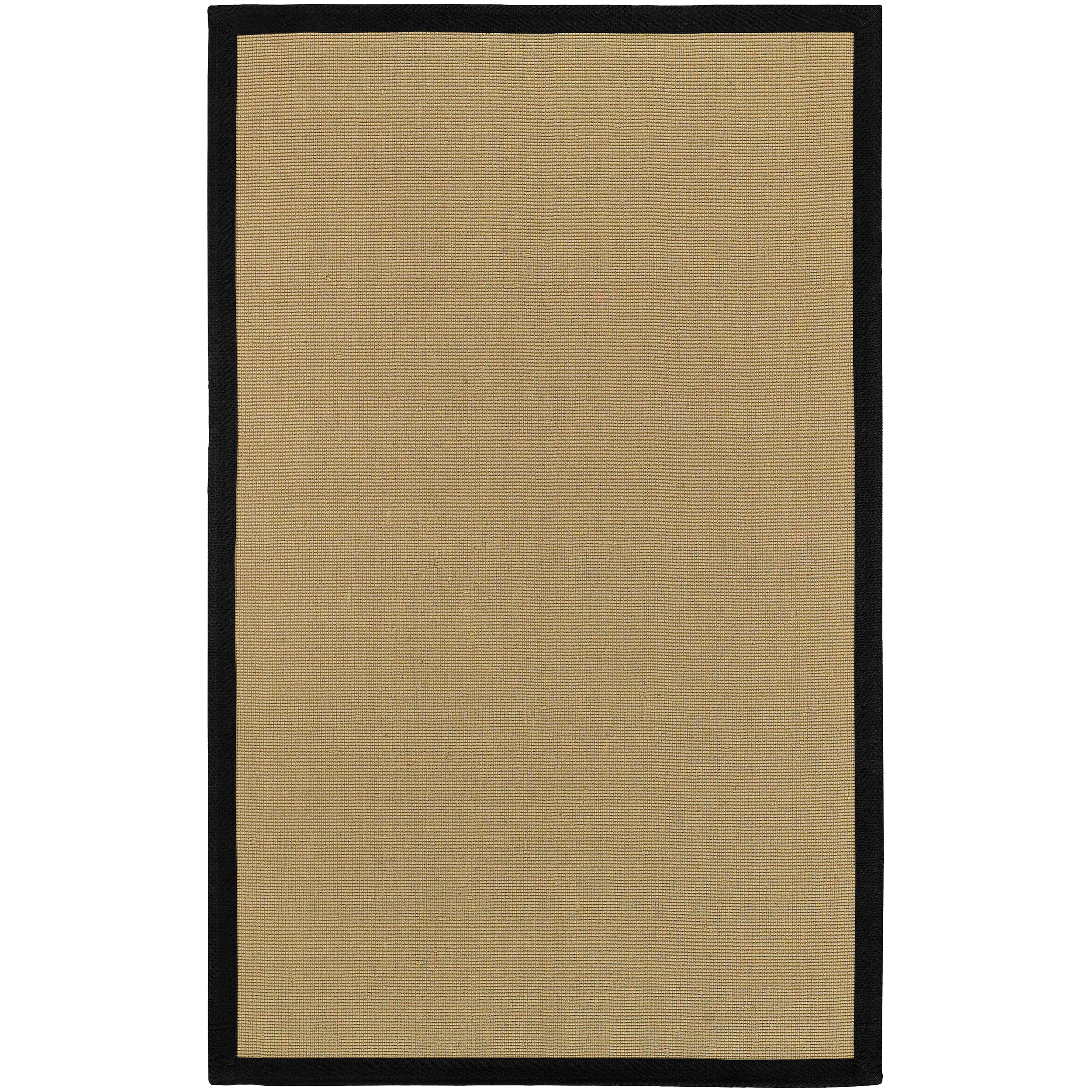 Woven Town Sisal And Black Cotton Border Rug 5 X 7 9