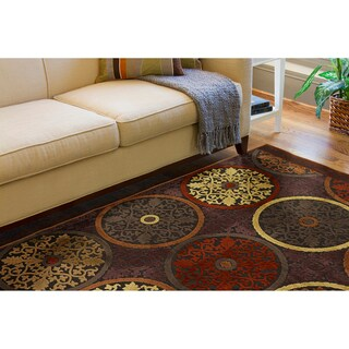 Clay Red Multicolor Viscose/Chenille Area Rug (5'1 x 7'6)