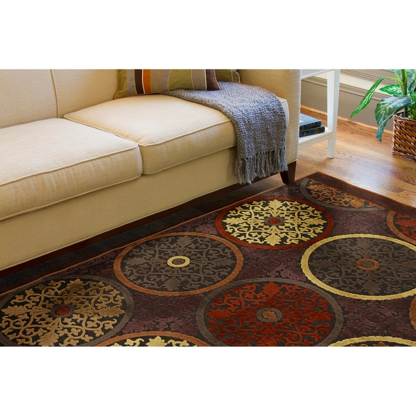 Clay Red Multicolor Viscose/Chenille Area Rug - 5'1 x 7'6