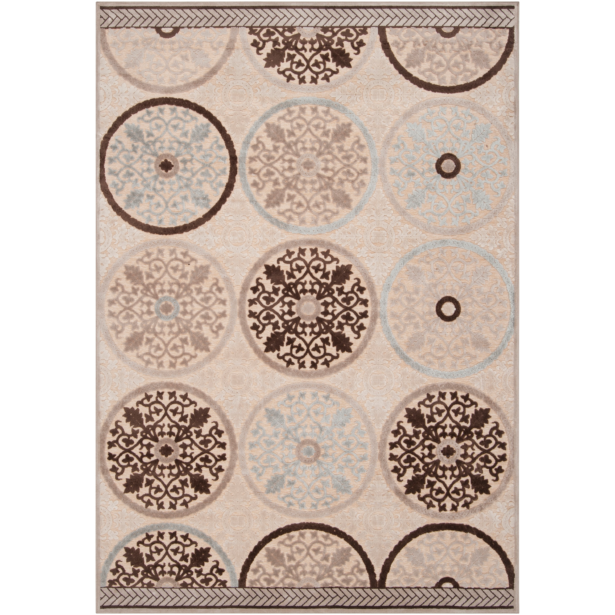 Clay Cream Viscose/Chenille Area Rug - 5'1 x 7'6