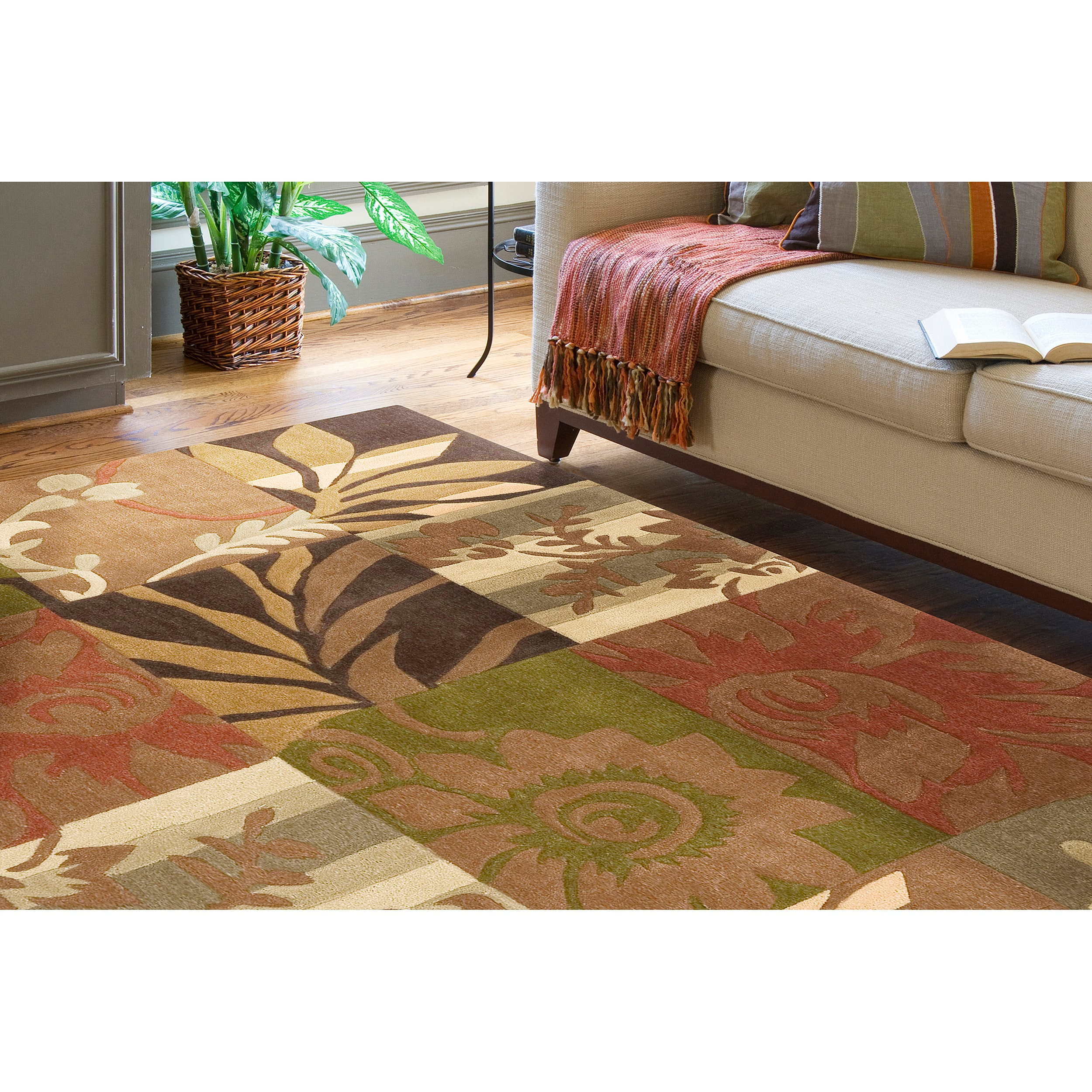 Remi & Cabot Hand-tufted Equinox Rust/Brown Polyester Rug...