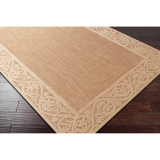 Meticulously Woven Garden View Beige Bordered Area Rug (5' x 7'6)