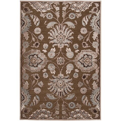 "Woven Lauren Chocolate Viscose/ Chenille Area Rug - 5'2"" x 7'6"""