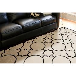 Hand tufted Oscar Black Wool Area Rug (3'6 x 5'6) - Thumbnail 1