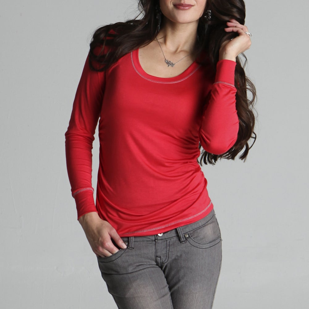 Lilac Clothing Women's 'Hailey' Maternity Coral Long-sleeve Scoop-neck Tee