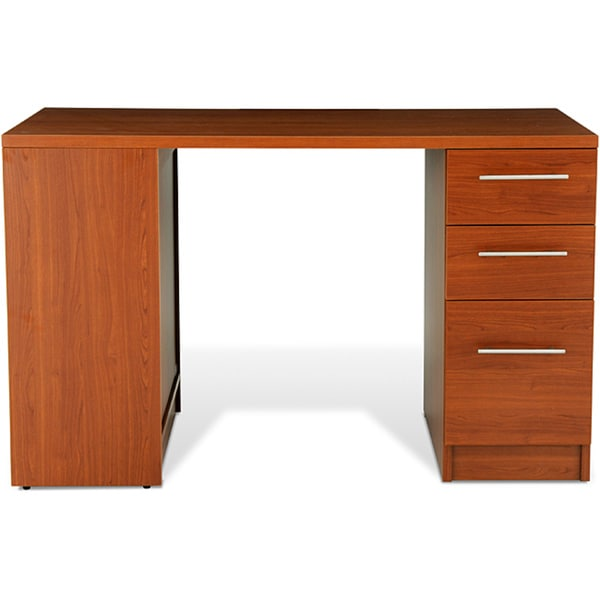 Jesper Office Cherry Study Desk with Drawers and Bookcase