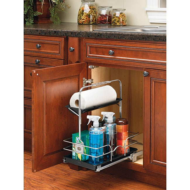 A Shelf 58 15c 5 Chrome Pull Out Basket: Rev-A-Shelf 544-10C-1 Chrome Cleaning Caddy