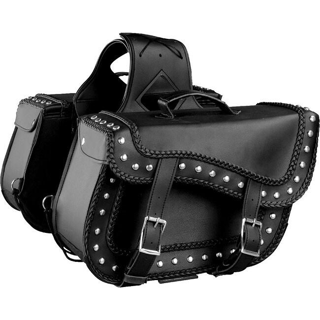 Raider Large Black Studded Leather Motorcycle Saddle Bags