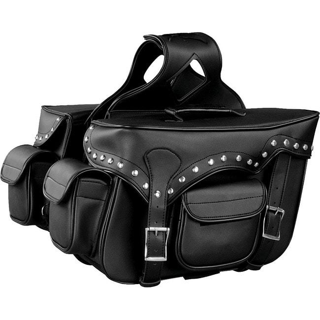 Raider Large Black Studded Motorcycle Saddle Bags