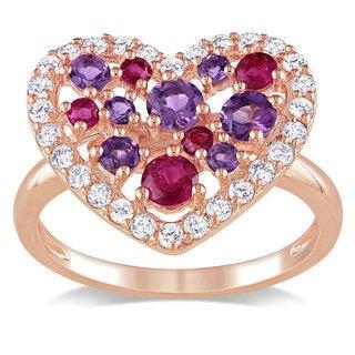 Miadora Pink Silver Multi-gemstone Fashion Ring (1 3/4ct TGW)