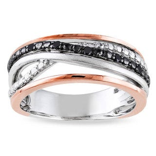 Miadora Sterling Silver Black Diamond Multi Row Fashion Ring