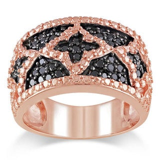 Miadora Pink-plated Silver 1/2ct TDW Black Diamond Ring
