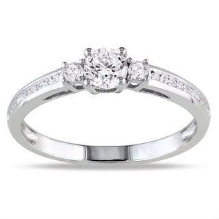 Miadora 10k White Gold 1/2ct TDW Diamond 3-stone Ring